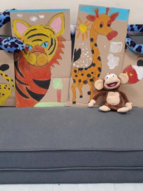 Quelques résultats de l'atelier peinture des Zigotos sur le thème des animaux de la jungle